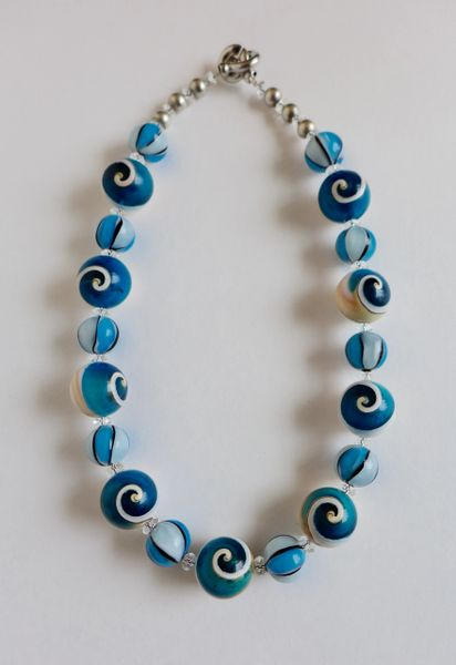 Murano Lampwork Glass Beads with Resin Infused Round Shell Beads & Herkimer Diamond Necklace
