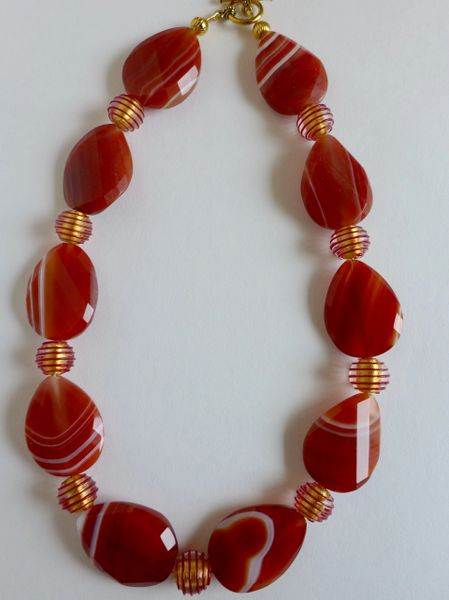 Red Line Faceted Twisted Agate Oval Beads with Murano Crystal/Red Gold Foil Beaded Necklace
