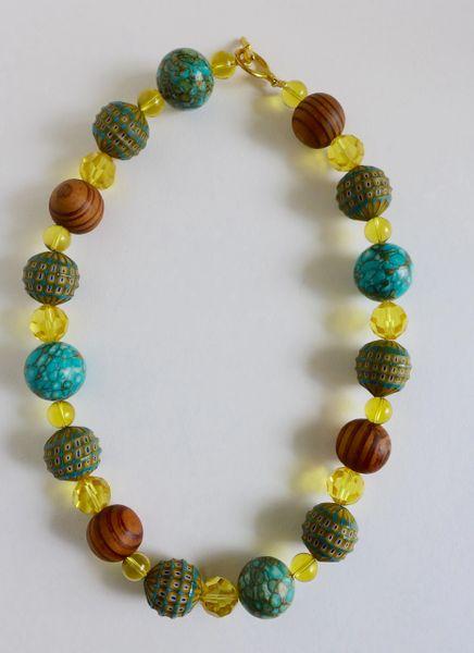 Mosaic Venetian Murano Blue & Yellow Beads, Mosaic Turquoise, Swarovski Crystals, and Burly Natural Wood Beaded Necklace