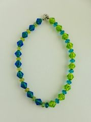 2 Tone Murano Glass Beads with Swarovski Crystals, and Metallic Vaseline Beaded Necklace