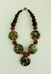Australian Rain Forest Round Jasper Flat Beads, Murano Lampwork Glass Beads, Sonu Wood Necklace