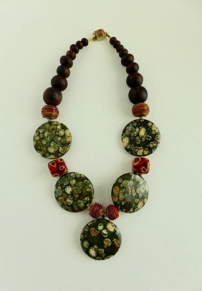 Australian Rain Forest Round Jasper Flat Beads, Murano Lampwork Glass Beads, Sonu Wood Necklace