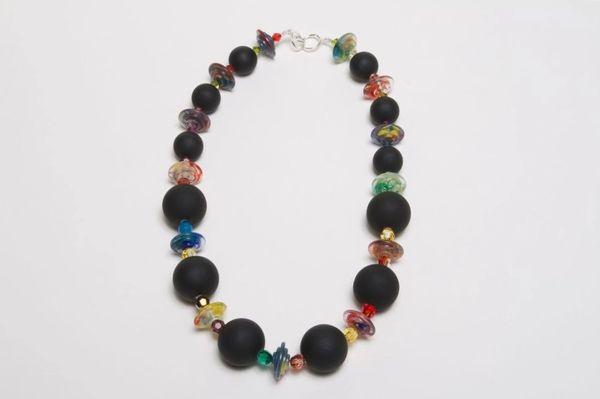 Swarovski Crystal Round Beaded, Black Acrylic Rubber Beads & Vintage Rainbow Lucite Necklace