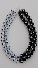 Double Strand Black & White with Stars Vintage Lucite Beads