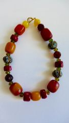 Amber, Red Mustang Coral, Swarovski Beads,, Hand Painted Krobo Recycled Glass Bead Necklace