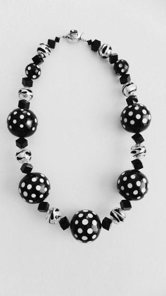 Polka Dot Vintage Lucite Beads, Venetian Zebra Sparkle Beads & Swarovski Crystal Bead Necklace