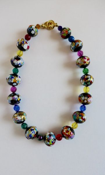 Klimt Venetian Murano, Various Swarovski Crystal Beaded Necklace