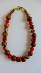 Venetian Murano Picasso, Mosaic, and Poppy Red Glass Beads, Burly Brown Wood Beaded Necklace