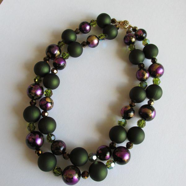 Swarovski Crystal Beads, Vintage Lucite Double Strand Necklace