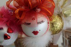 "Valentines Day Ornament ""Red & White"" By Nanette Boerding"