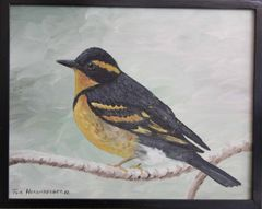 """""""Winter Robin"""" Oil Painting"""