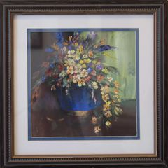 Acrylic Painting Blue Vase Floral