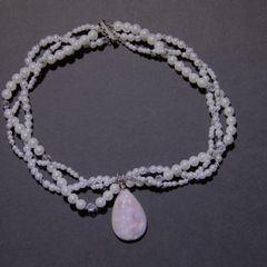 White quartz pearlized druzy pendant