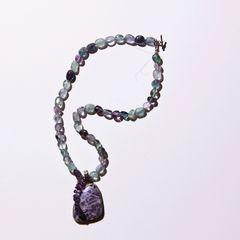 Purple sagenite and Flourite purple and green necklace