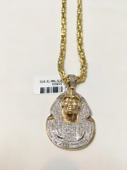 10KT Solid Yellow Gold Byzantine Chain With King Tut Diamond Charm, 31913