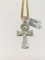 10KT Solid Yellow Gold Franco Chain With Ankh Cross Real Diamond Charm, 31516