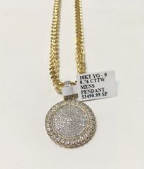 10KT Solid Yellow Gold Franco Chain With Real Diamond Round Charm, 34437