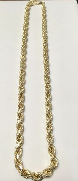 10KT Solid Yellow Gold Rope 10 MM, 22 inches
