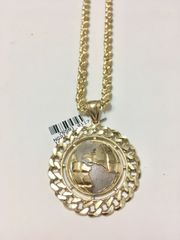 10KT Solid Yellow Gold Rope With Glob Charm, 76581 A