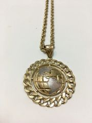 10KT Solid Yellow Gold Rope With C Globe Charm,E0664
