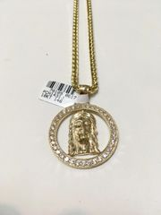 10KT Solid Yello Gold Franco Chain With Jesus Face Charm, 70109