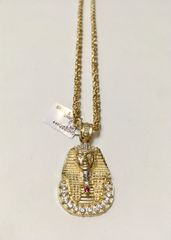 10KT Solid Yellow Gold Rope With King Tut Charm, 79997
