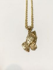 10KT Solid Yellow Gold Rope Chain With Free Hands Charm,E0665