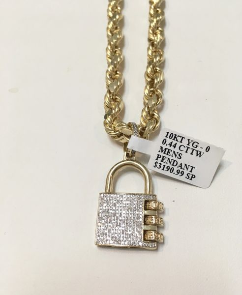 10KT Solid Yellow Gold 7 MM Rope With Real Diamond Lock Charm, 34343