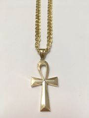 10KT Solid Yellow Gold Double Figaro Chain With Cross Charm, E0668