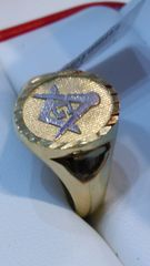 10 K men Masonic yellow Gold ring