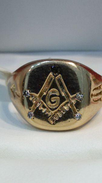 10 K yellow Gold men Masonic ring