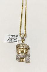 10KT Solid Yellow Gold Franco Chain With Real Diamond Jesus Face Charm, 32187