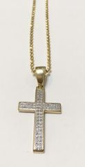 10KT Solid Yellow Gold Beats Chain With Real Diamond Cross Charm, E0669
