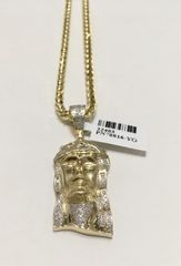 10KT Solid Yellow Gold Palm Chain With Real Diamond Jesus Face Charm, 32403