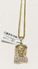 10KT Solid Yellow Gold Franco Chain With Real Diamond Jesus Face Charm, 98949