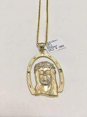 10KT Solid Yellow Gold Franco Chain With Jesus Face Charm, 78106