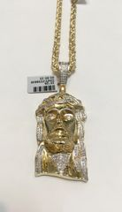 10KT Solid Yellow Gold Rope With Real Diamond Jesus Face Charm, 23720