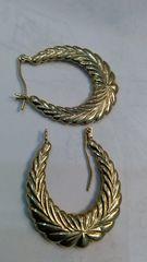 Women Hoop earrings 10 K solid yellow Gold zz