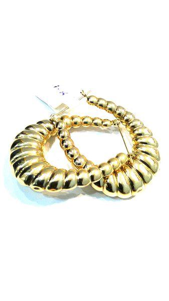 Women Hoop earrings solid yellow Gold 10 k