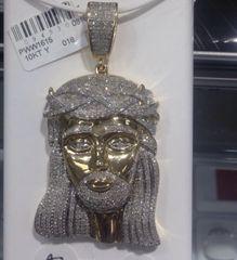 10kt solid Yellow Gold Diamond Jesus Pendant