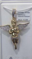 10k solid yellow gold diamond Angel Pendant 111468