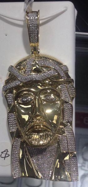 10k Solid Yellow Gold Real Diamond Jesus Pendant