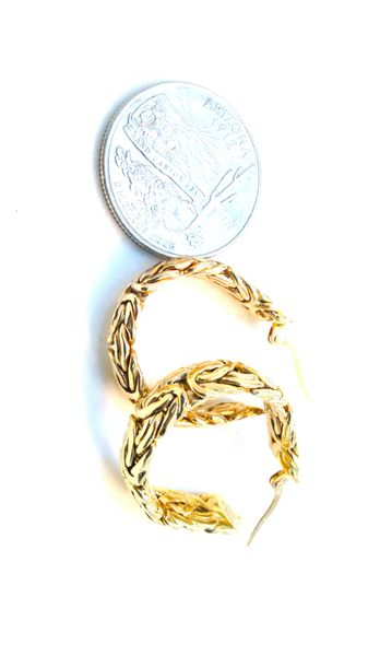 Hoop earrings solid yellow Gold 10k lady earrings