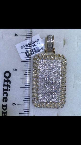 14K Solid Yellow Gold Real Diamond Dog Tag Pendant