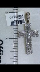 14K Solid Yellow Gold Real Diamond Cross Pendant