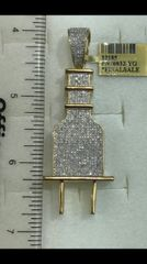 10K Solid Yellow Gold Real Diamond Plug Pendant