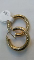 14 K Hoop earrings solid yellow Gold :;""