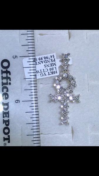 10K Solid Yellow Real Diamond Cross