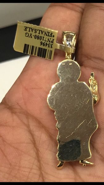 14K Solid Yellow Gold Real Diamond Jesus Pendant