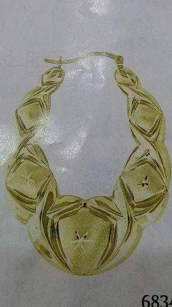 Lady hoop earrings solid yellow Gold 10 K ,.n.b.